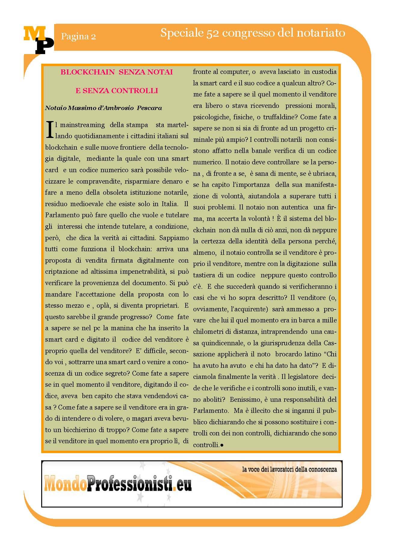 Blockchain criptovalute e commento del notaio Massimo d'Ambrosio