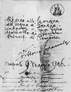 atto di abdicazione del re Vittorio Emanuele II - notaio d'ambrosio