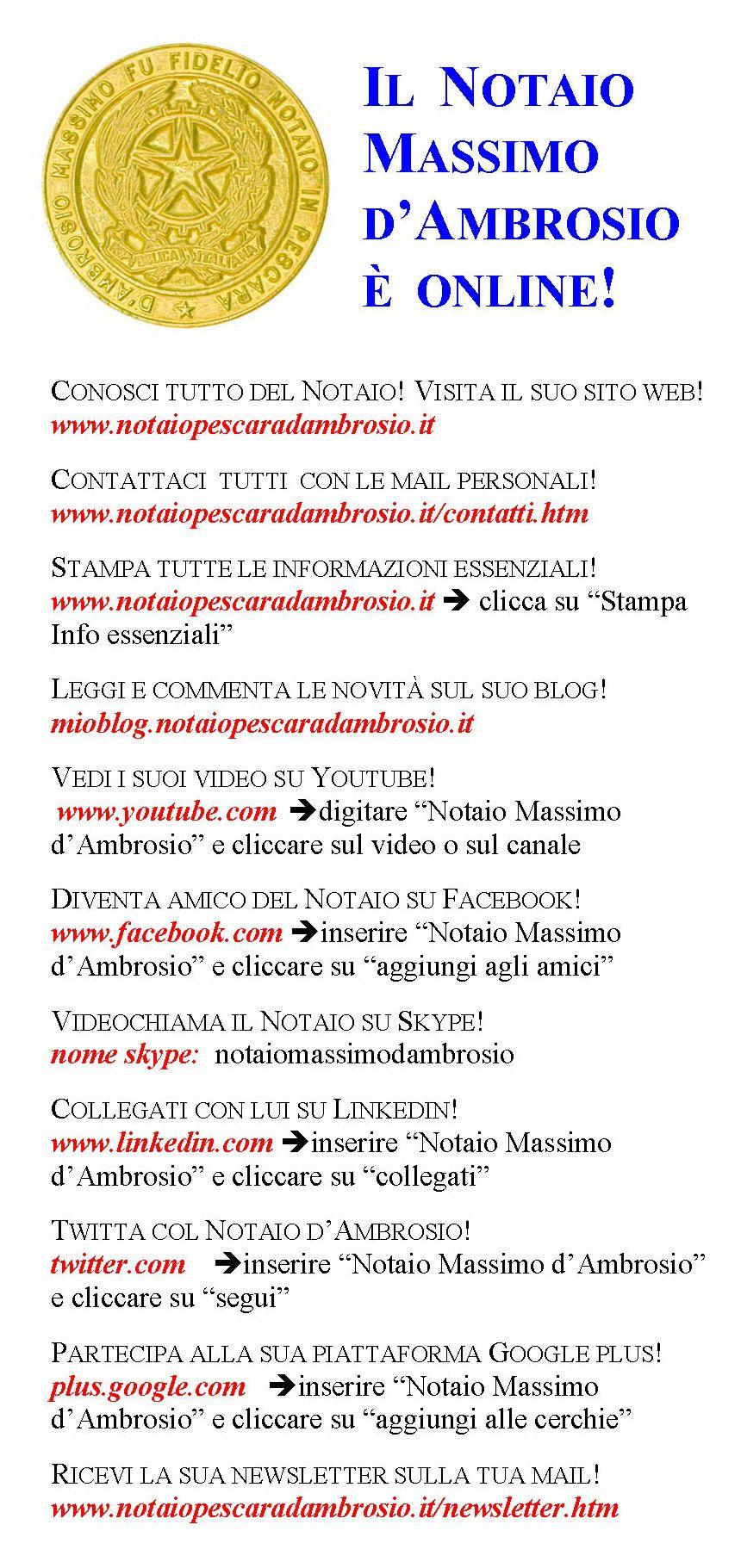 il notaio Massimo d'Ambrosio è Online