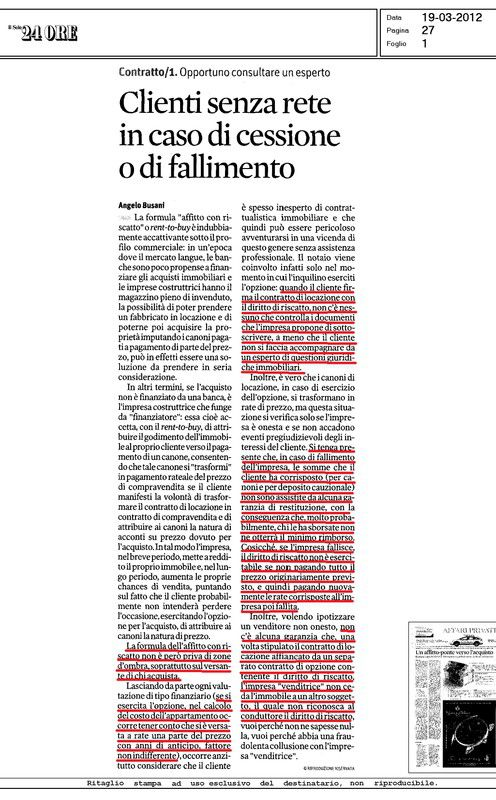 articolo su rent to buy